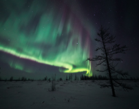 The Northern lights over the tundra