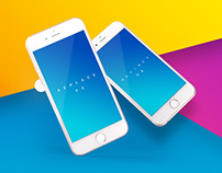 iPhone UI App Mockups with Vivid Backgrounds