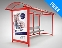 Free Citylight Bus Station Mockup