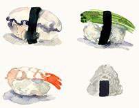 Sushi and Maki Aquarelle Sketches