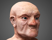 Grumpy old man bust