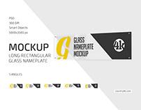 Long Rectangular Glass Nameplate Mockup Set