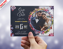 Wedding Invitation Card with Photo PSD