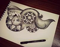 Indian girl doodles & mandala