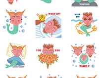 Sticker packs for iOS 10. Mermaids and Fantasy Glasses.