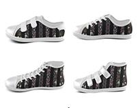 Oriental Floral Stripes Kids Shoes