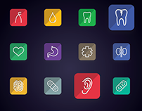 Medical - Medicine, Human Anatomy Flat Line Icons | iOS
