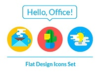 Hello, Office! Free Flat Design Icons Set