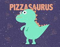 Pizzasaurus Logo and Social