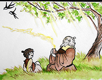 Watercolor Avatar scene (Zuco and his uncle)