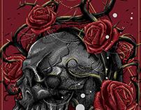 Skull, roses and cobwebs