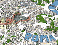 Coloring Tour Roma Illustrations by Silvia Stecher