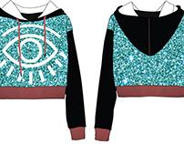 Fashion flat design of hooded sweatshirt
