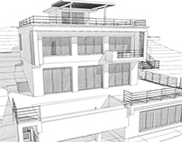 Private house on the complex topography (300 m2)