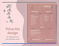 Price list design for the makeup and brow artist