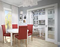 Гостиная и кухня в частом доме