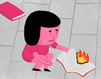 Librería en llamas