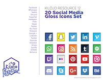KilojoResource12 - FREE 20 Social Media Gloss Icons Set
