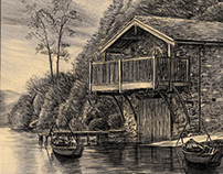 Lake Cottage drawing portrait