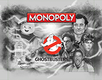 Ghostbusters Monopoly black and white illustration