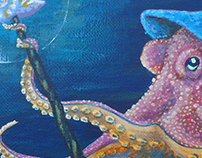 Octopus Wizard Painting