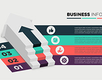 Free 3D Business Infographics Staircase Diagram