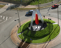 ROUNDABOUT WITH FATER LOGO SHAPED AEOLIAN WINDSIDE