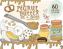 Peanut Butter, Fun Breakfast Food Illustrations