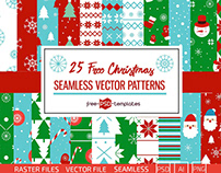25 FREE SEAMLESS VECTOR CHRISTMAS PATTERNS