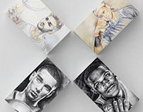Watercolor & Graphite Portrait Collection (athletes)