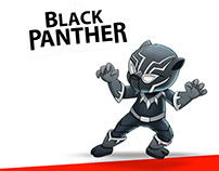 How to draw cute Black Panther easy