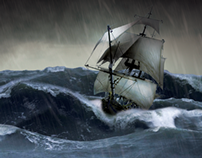 Matte Painting #1 - The Storm and the Ship