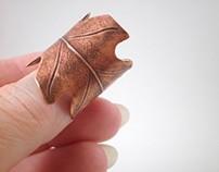 Copper Oak Leaf Ring