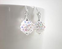 Earrings White Sparkly Rhinestone Ball