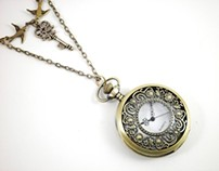 "Watch Locket ""Happily Ever After"" Clock Necklace"