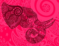 Desktop wallpaper elephant doodle art pink