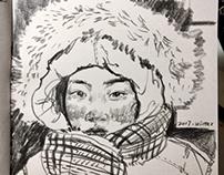 sketch-a winter portrait