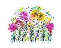 Flower garden watercolor doodle illustration