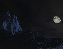 Moon & Mountain Digital Landscape