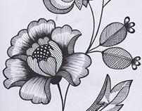 Botanical black fineliner drawing