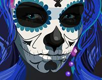Blue sugar skull girl