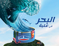 Poster design for canned seafood brand.