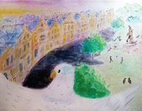 Watercolor Bird Flying