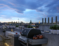 rooftop terrace outdoor kitchen details.
