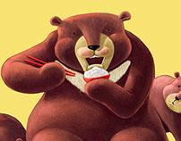 武熊,米包裝插畫