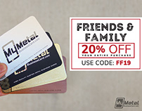 Metal Business Card 20% OFF - Friends and Family Sale