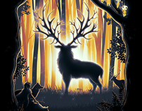 Mononoke Hime Inspired Deer God Forest Digital Art