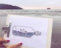 Ilustração - Barco na garrafa