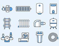 Icons • Heating   Иконки • Отопление, водоснабжение