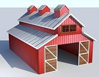 Simple Barn Model - Maya 3D
